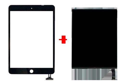 поменять целиком стекло и дисплея iPad Mini, Mini 2 Retina