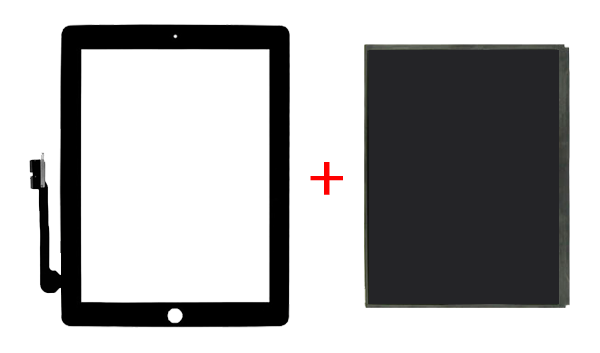 дисплей и стекло под замену на ipad 3,4